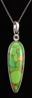 "Sterling Silver 50x16mm Green Mohave Turquoise & Prasiolite Enhancer Pendant with 18"" Chain"