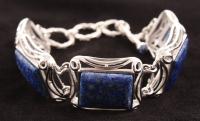 """Sterling Silver 8"""" Lapis Adjustable Toggle Bracelet"""