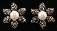 Addison Lane Freshwater Pearl & Marcasite Flower Stud Earrings