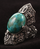 Pangea Mines Sterling Silver Oval Turquoise, White Topaz & Black Spinel