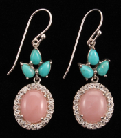 """Sterling Silver 1.75"""" Blue Campo Frio Turquoise Guava Quartz & White Topaz Drop Earrings"""