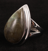 Pangea Mines Sterling Silver 22x14mm Labradorite Pear Shaped Ring