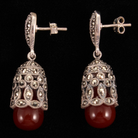 Addison Lane Marcasite & Red Agate Cage Drop Earrings
