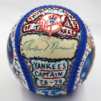 Thurman Munson Signed New York Yankees Baseball Hand-Painted by Charles Fazzino (PSA LOA & Fazzino LOA)