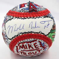Mike Trout Signed Los Angeles Angels Baseball with Full Name Signature Hand-Painted by Charles Fazzino (MLB Hologram & Fazzino LOA)
