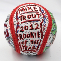 Mike Trout Signed Los Angeles Angels Baseball with Full Name Signature Hand-Painted by Charles Fazzino (MLB Hologram & Fazzino LOA) at PristineAuction.com