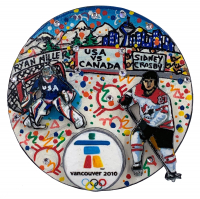 Charles Fazzino Painted  3D Pop Art 2010 Winter Olympics Team USA vs. Team Canada Hockey Puck at PristineAuction.com