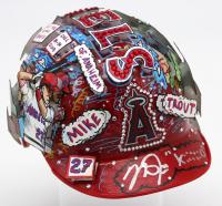 "Mike Trout Signed LE Los Angeles Angels Mini Batting Helmet Inscribed ""Kiiiiid"" Hand-Painted by Charles Fazzino (MLB Hologram & Fazzino LOA)"