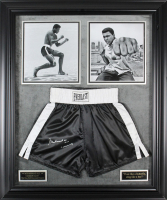 "Muhammad Ali Signed 35x42 Custom Framed Boxing Trunks Display Inscribed ""AKA Cassius Clay"" (JSA LOA)"