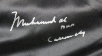 """Muhammad Ali Signed 35x42 Custom Framed Boxing Trunks Display Inscribed """"AKA Cassius Clay"""" (JSA LOA) at PristineAuction.com"""