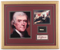 Thomas Jefferson 18x22 Custom Framed Display with (1) Hand-Written Word From Letter (JSA LOA Copy)