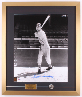 "Ted Williams Signed Boston Red Sox 21.5x25.5 Custom Framed Photo with 1960s Ted Williams Pin ""Autograph Graded Gem Mint 10"" (PSA LOA & Williams Hologram)"
