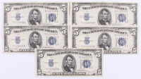 Lot of (5) 1934-D $5 Five Dollar Silver Certificate Bank Notes with Consecutive Serial Numbers