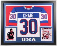 Jim Craig Signed Team USA 35x43 Custom Framed Jersey (JSA COA)
