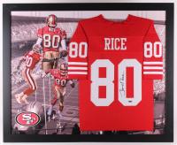 Jerry Rice Signed San Francisco 49ers 35.5x43.5 Custom Framed Jersey (TriStar Hologram)