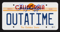 """Christopher Lloyd Signed Back to the Future """"OUTATIME"""" License Plate (Beckett COA)"""
