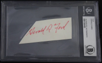 Gerald Ford Signed Cut (Beckett Encapsulated)