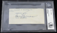 Harry S. Truman Signed Cut (Beckett Encapsulated)