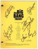 """The Big Bang Theory: The Athens Recurrence"" Episode Script Cast-Signed by (5) with Johnny Galecki, Jim Parsons, Kaley Cuoco (JSA LOA)"