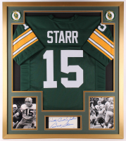"""Bart Starr Signed Green Bay Packers 32x36 Custom Framed Cut Inscribed """"With Best Wishes"""" (JSA COA)"""