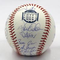 2008 New York Yankees Yankee Stadium Logo Baseball Team-Signed by (29) with Mariano Rivera, Derek Jeter, Johnny Damon, Jason Giambi, Mike Mussina (Steiner COA & MLB Hologram)