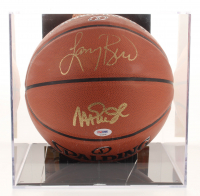 Magic Johnson & Larry Bird Signed NBA Basketball with Display Case (PSA COA)