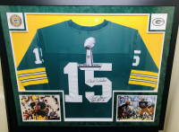 "Bart Starr Signed Green Bay Packers 34x42 Custom Framed Jersey Inscribed ""Best Wishes"", ""MVP SB I, II"" & ""HOF 77"" (JSA LOA)"