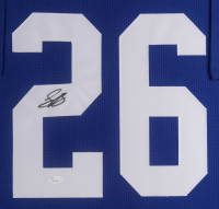 Saquon Barkley Signed New York Giants 35.75x43.5 Custom Framed Jersey Display (JSA COA) at PristineAuction.com