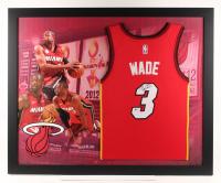 Dwyane Wade Signed Miami Heat 35.5x43.5 Custom Framed Jersey Display (Beckett COA)