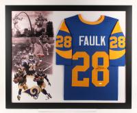 Marshall Faulk Signed St. Louis Rams  35.5x43.5 Custom Framed Jersey Display (JSA Hologram)