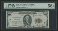 1929 $100 One Hundred Dollars U.S. National Currency Bank Note - The Federal Reserve Bank of Cleveland, Ohio (PMG 58)