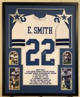 Emmitt Smith Signed Dallas Cowboys 34x42 Custom Framed Career Highlight Stat Jersey (Beckett COA & PROVA Hologram)