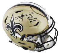 "Alvin Kamara Signed New Orleans Saints Full-Size Authentic On-Field SpeedFlex Helmet Inscribed ""Lights Kamara Action"" (Radtke COA) at PristineAuction.com"