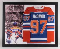Connor McDavid Signed Edmonton Oilers 35.5x43.5 Custom Framed Jersey Display (PSA Hologram)