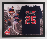 Jim Thome Signed Cleveland Indians LE 35.5x43.5 Custom Framed Jersey Display (JSA Hologram)