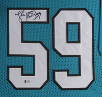 Luke Kuechly Signed Carolina Panthers 35.5x43.5 Custom Framed Jersey Display (Beckett COA) at PristineAuction.com