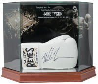 Mike Tyson Signed Reyes Gold Boxing Glove with Display Case (JSA COA)