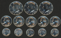 Lot of (13) 1964 Silver Coins with (3) Kennedy Half-Dollars, (5) Washington Quarters, & (5) Roosevelt Dimes