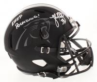 "Luke Kuechly Signed Carolina Panthers Full-Size Custom Matte Black Speed Helmet Inscribed ""Keep Pounding!"" (JSA COP) at PristineAuction.com"