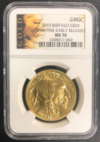 2010 Buffalo 1 Troy Ounce .9999 FIne Early Release $50 Coin (NGC MS 70)