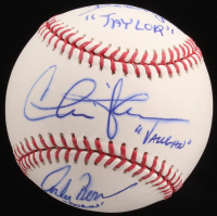 "Charlie Sheen, Corbin Bernsen & Tom Berenger Signed OML Baseball Inscribed ""Vaughn"", ""Dorn"" & ""Taylor"" (JSA Hologram)"