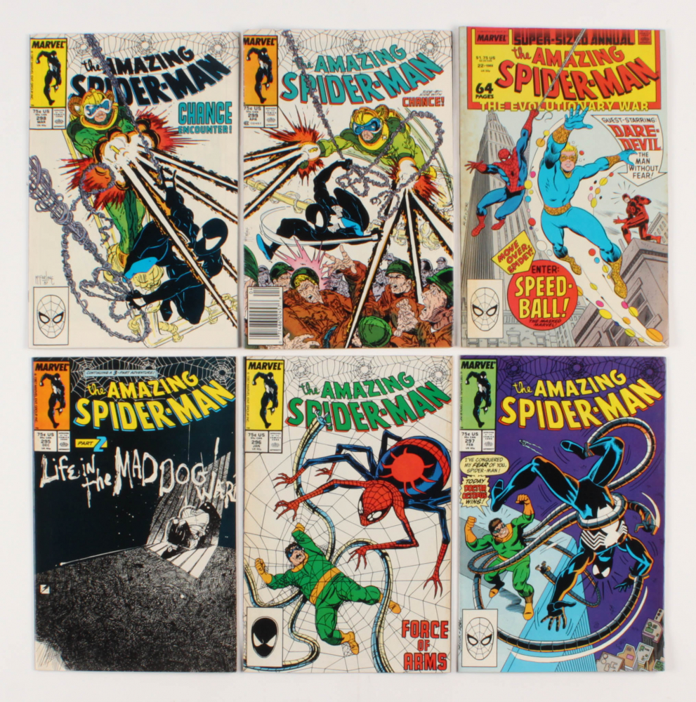 """Lot of (6) 1987-88 """"The Amazing Spider-Man"""" #295-299 Marvel Comic Books at PristineAuction.com"""