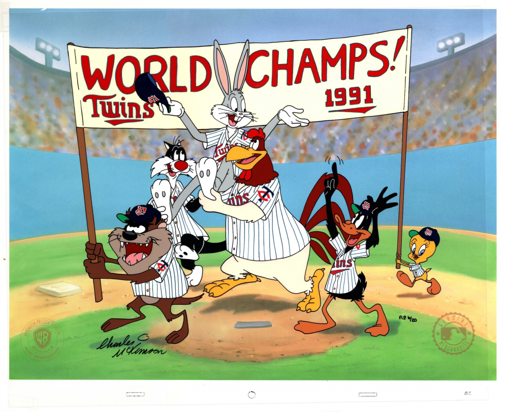 "Charles McKimson Signed AP Warner Bros. ""World Champs"" 14x17 Animation Cel (Toon Art, Inc. COA) at PristineAuction.com"