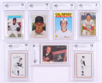 Lot of (7) Beckett BCCG Graded Baseball Cards with 1978 Landsman Playing Cards #NNO Mickey Mantle (BCCG), 1969 MLB PhotoStamps #103 Joe Coleman Jr. (BCCG 10), 1969 MLB PhotoStamps #203 Juan Marichal (BCCG 10), 1986 Topps #715 Cal Ripken All-Star (BCCG 10)