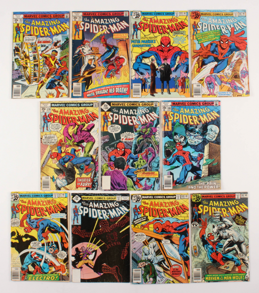 "Lot of (11) 1978-79 ""The Amazing Spider-Man"" #179-190 Marvel Comic Books at PristineAuction.com"