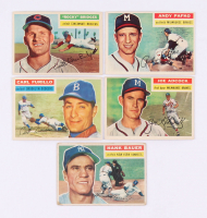 Lot of (32) 1956 Topps Baseball Cards with #177 Hank Bauer, #320 Joe Adcock, #190 Carl Furillo, #324 Rocky Bridges, #312 Andy Pafko at PristineAuction.com