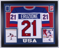 "Mike Eruzione Signed Team USA ""Miracle on Ice"" 35x43 Custom Framed Jersey (JSA COA) at PristineAuction.com"