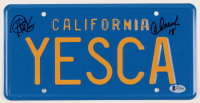 "Cheech Marin & Tommy Chong Signed ""Up in Smoke"" California License Plate Inscribed ""18"" (Beckett COA)"