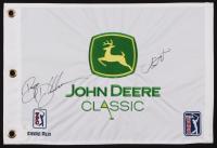Bryson Dechambeau & Jordan Spieth Signed John Deere Classic PGA Golf Pin Flag (JSA LOA)