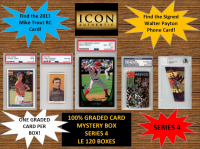 ICON AUTHENTIC  100% GRADED CARD MYSTERY BOX - SERIES 4 (Guaranteed (1) Graded PSA or Beckett card in every box)  ALL GRADED CARD Encapsulated